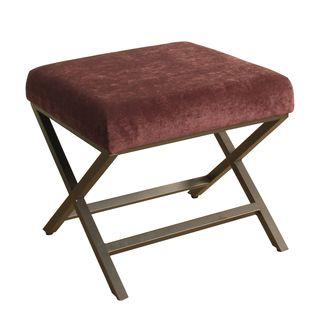 HomePop Upholstered Ottoman with Raisin Plush Velvet and Bronze Metal Finish