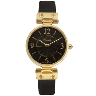 Romilly Women's Nova Black Genuine Leather Multi-textured Dial Watch