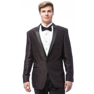 Caravelli Men's Brown Satin Peak Lapel Tuxedo with Self Bowtie