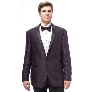 Caravelli Men's Egg Plant Satin Peak Lapel Tuxedo with Self Bowtie