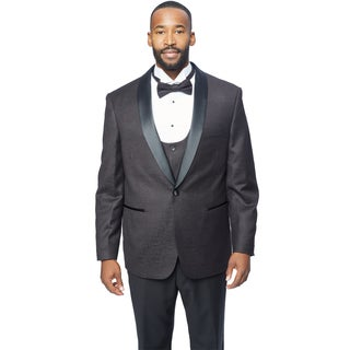 Caravelli Men's Black Satin Shawl Lapel Tuxedo with Self Bowtie