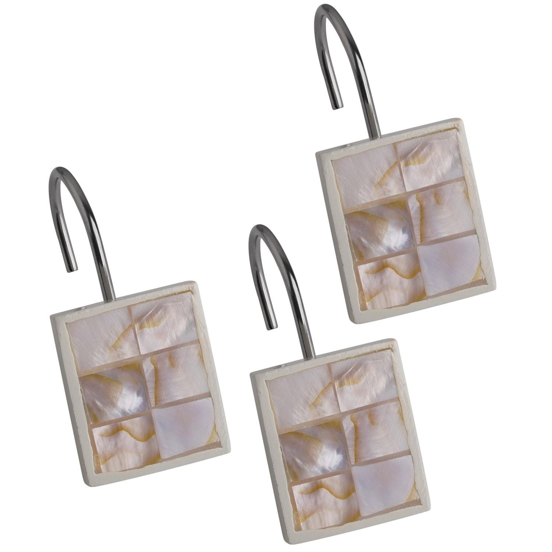 Milano Shower Curtain Hooks Set Of 12 Beige