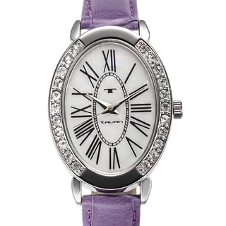 Tavan Women's Jeanne Mother of Pearl Watch with Purple Leather Strap