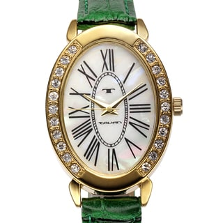 Tavan Women's Jeanne Mother of Pearl Watch with Green Leather Strap