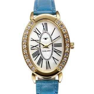 Tavan Women's Jeanne Mother of Pearl Watch with Blue Leather Strap