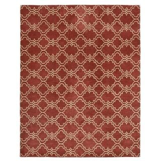 ABC Accent Scroll Tile Terra Cotta Wool Rug (5' x 8')