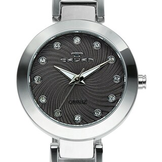Tavan Women's Siren Austrian Crystal Accented Black Dial Watch