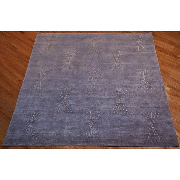 Shop ABC Accent Tibetan Hand-knotted Bunch Grey Wool And