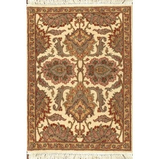 ABC Accent Jaipur Floral Hand-knotted Beige Rug (8' x 10')