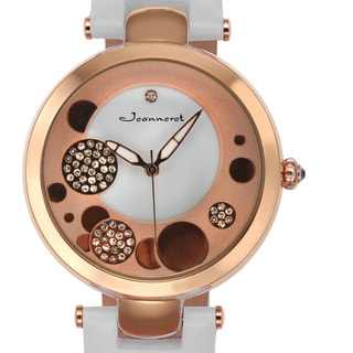 Jeanneret Women's Austen White Leather Stainless Steel Austrian Crystal Accented Dial Watch