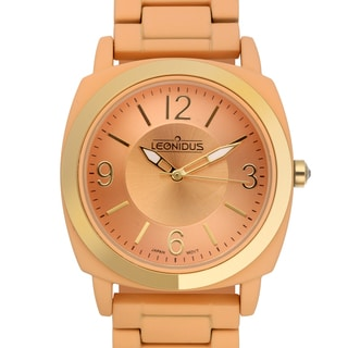 Leonidus Women's Ligeia Orange Multi-textured Dial Watch