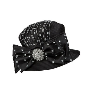 Giovanna Signature Women's Rhinestone Embellished Ribbon Hat