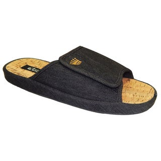 Vecceli Men's Black Denim Print Slippers