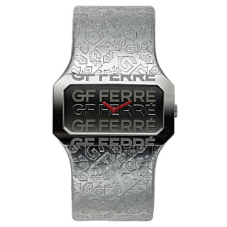 GF Ferre Women's Leather Stainless Steel Swiss Made Embossed Watch