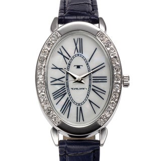 Tavan Women's Jeanne Mother of Pearl Watch with Navy Blue Leather Strap