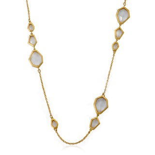 City Lights Satin 14k Gold Overlay Faceted Stone 36-inch Necklace