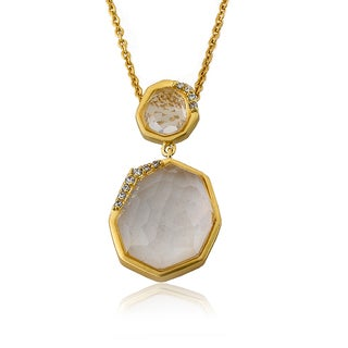 City Lights Satin 14k Gold Overlay Faceted Cubic Zirconia Pendant Necklace