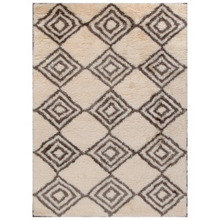 ABC Accent Moroccan Beni Ourain Ivory Brown Wool Rug (4'7 x 6'6)
