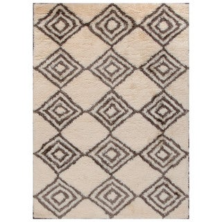 ABC Accent Moroccan Beni Ourain Ivory Brown Wool Rug (6'6 x 9'6)