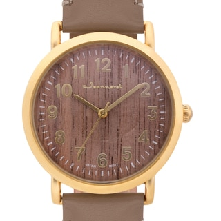 Jeanneret Women's Amelia Wood Dial Watch with Brown Leather Strap