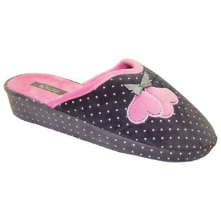 Vecceli Women's Polka Dot Casual Grey Slippers
