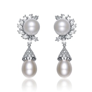 Collette Z Sterling Silver Clear Cubic Zirconia Medieval Pearl Earrings