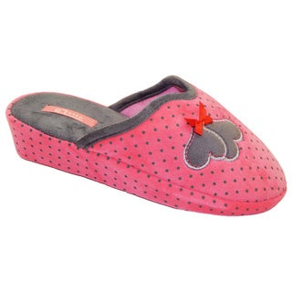 Vecceli Women's Polka Dot Casual Pink Slippers