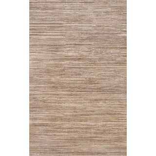 ABC Accent Hand-knotted Fine Solid Wool Grey Rug (5' x 8')