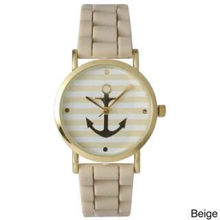 Olivia Pratt Golden Anchor and Stripe Silicone Watch