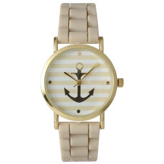 Olivia Pratt Golden Anchor and Stripe Silicone Watch