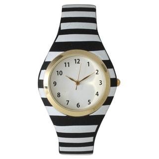 Olivia Pratt Striped Silicone Watch