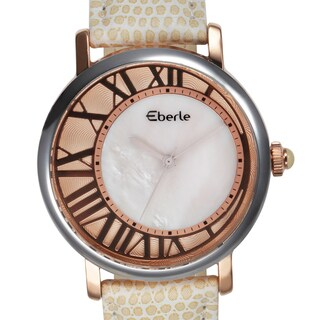 Eberle Women's Lunette Mother of Pearl Watch with Beige Leather Strap