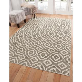 Greyson Living Owen Silver-grey/ White Viscose Area Rug (5'3 x 7'6)