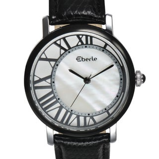 Eberle Women's Lunette Mother of Pearl Watch with Black Leather Strap