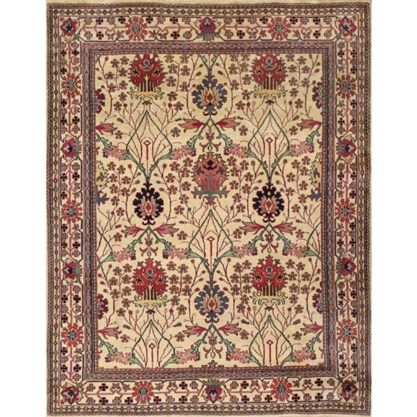 Abc Accent Hand Knotted Arts And Crafts Beige Wool Rug 8 X27