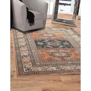 Greyson Living Yuma Aqua/ Copper/ Black/ Ivory Viscose Area Rug (5'3 x 7'6)