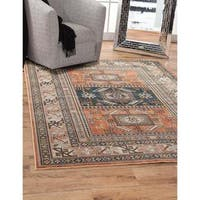Greyson Living Yuma Aqua/ Copper/ Black/ Ivory Viscose Area Rug (5'3 x 7'6) - 5'3 x 7'6