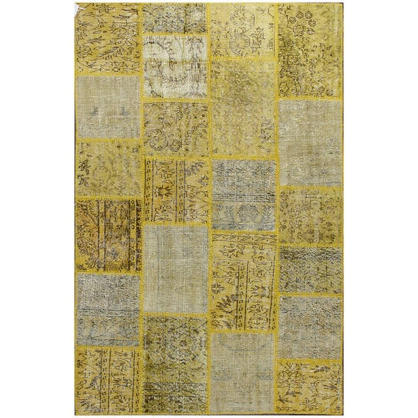 ABC Accent Vintage Turkish Overdyed Patchwork Autumn Wool Rug (4' x 6')