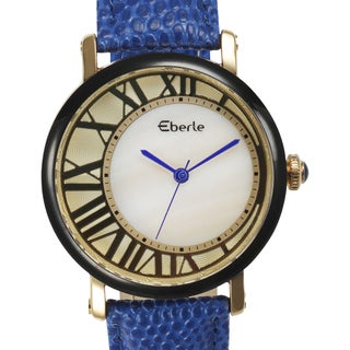 Eberle Women's Lunette Mother of Pearl Watch with Blue Leather Strap