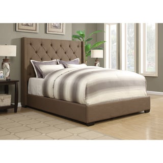 Wingback Button Tufted Dark Taupe Queen Size Upholstered Bed