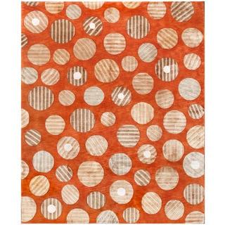 ABC Accent Tibetan Modern Rust Wool and Silk Rug (9' x 12')