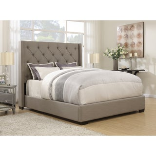 Wingback Button Tufted Grey Queen Size Upholstered Bed