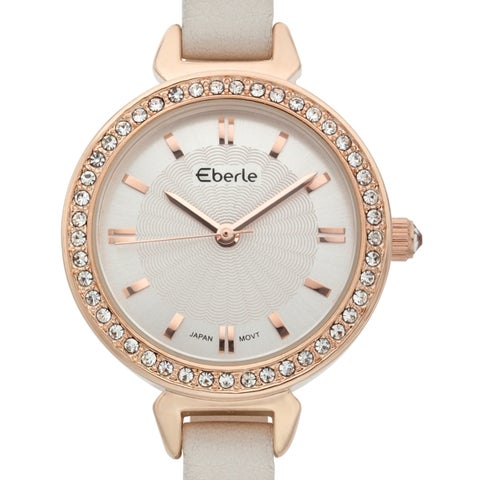 Eberle Women's White Elegant Crystal Adorned Genuine Leather Strap Watch 29mm