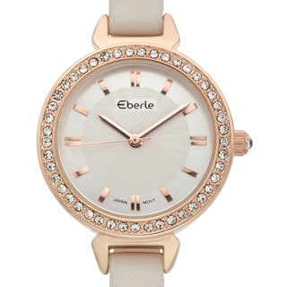 Eberle Women's Austonian Watch with White Genuine Leather Strap