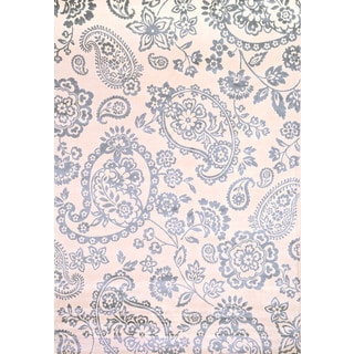 Greyson Living Paisley Light Blue/ Ivory Viscose Area Rug (5'3 x 7'6)