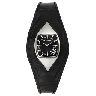 GF Ferre Women's Eyeball Black Leather Stainless Steel Quartz Watch