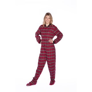 Red/ Grey/ Black with Grey Hearts Plaid Cotton Flannel Adult Footed Pajamas with Drop Seat