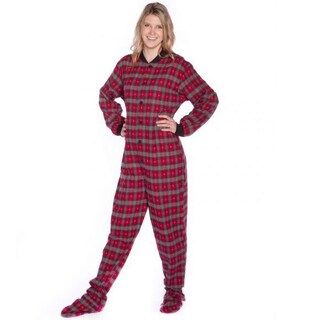 Red/ Grey/ Black with Small Grey Hearts Plaid Flannel Adult Footed Pajamas with Drop Seat by Big Feet Pajamas (4 options available)