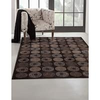 "Greyson Living Bismarck Charcoal/ Ivory/ Chocolate Viscose Area Rug - 5'3"" x 7'9"""