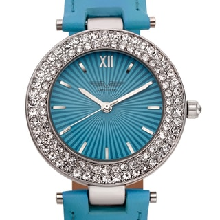 Deporte Women's Valencia Crystal-studded Bezel Textured Dial Watch with Blue Leather Strap